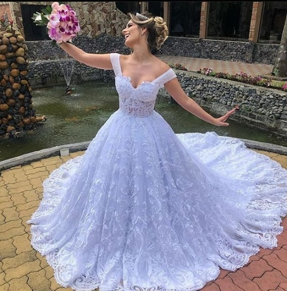 vestido de noiva rodado em renda