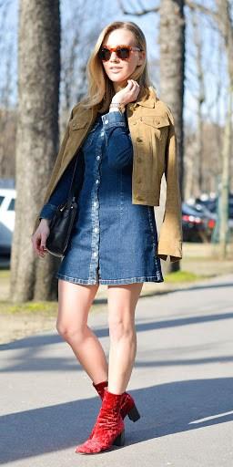 como usar vestido jeans de manga longa