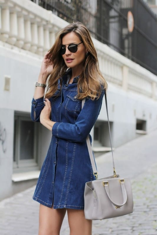 look com vestido jeans de manga longa