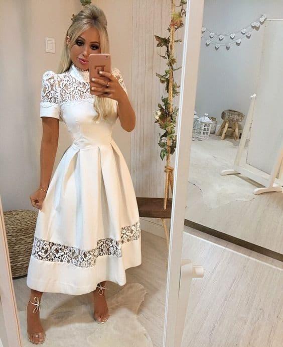 look com vestido midi branco para casamento civil