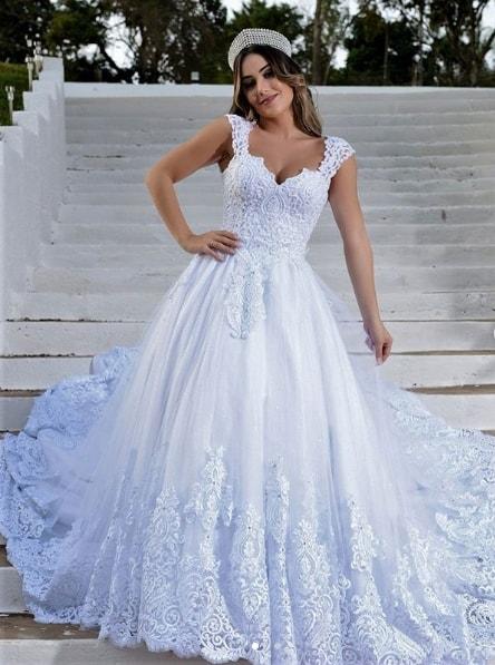 vestido de noiva rodado com renda