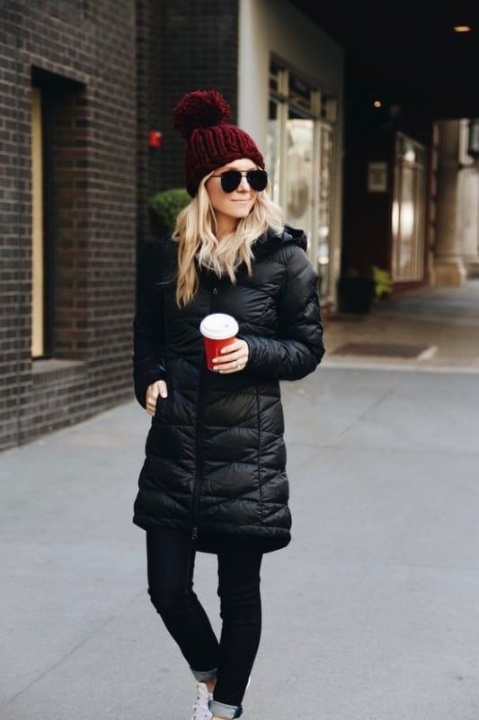 look de inverno com casaco doudoune preto