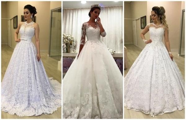 modelos de vestido de noiva princesa com renda