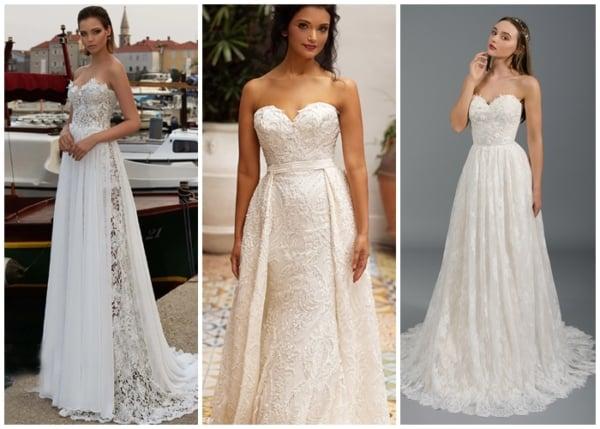 modelos de vestido de noiva tomara que caia em renda