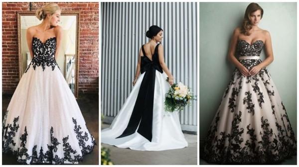modelos de vestidos de noiva preto e branco