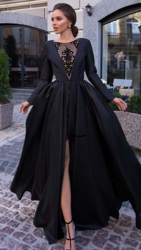 vestido de noiva preto e moderno