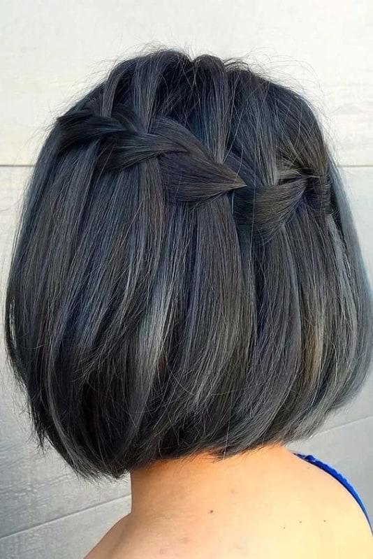 penteado com trança para cabelo curto e liso