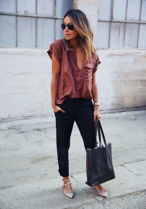 look feminino com bolsa preta sacola