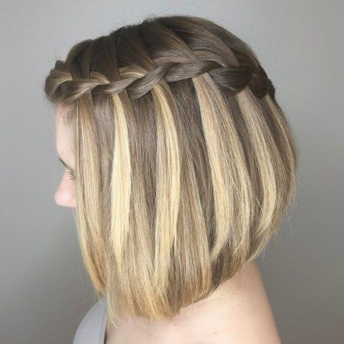 penteado com trança cascata para cabelo liso e curto