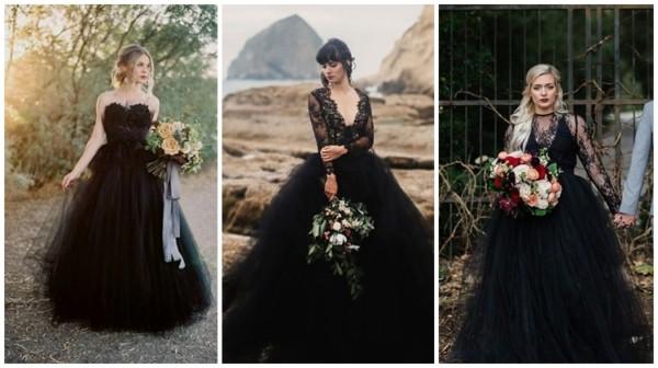 modelos de vestido de noiva princesa preto