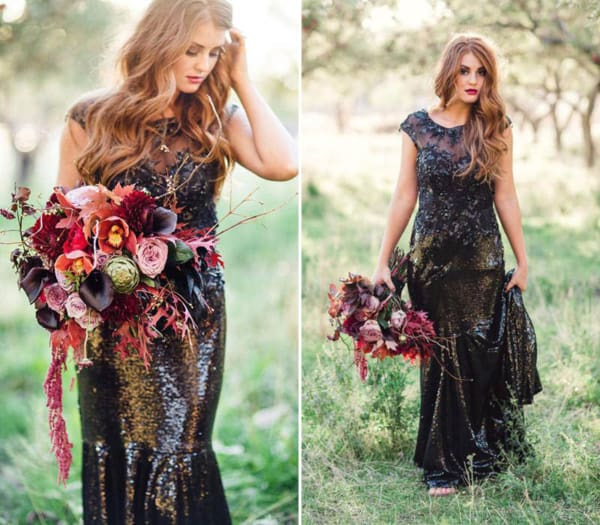 noiva com vestido de paetê preto