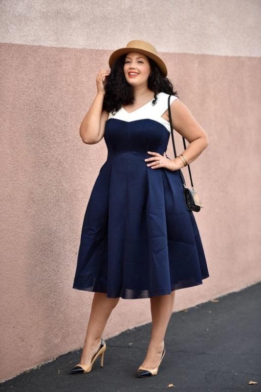look com vestido rodada plus size azul marinho