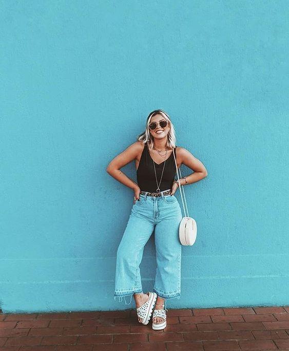 look tumblr com pantacourt e blusa preta