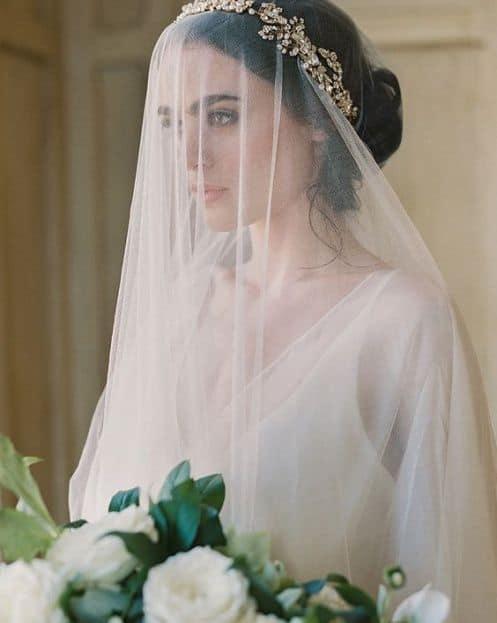 noiva com tiara e véu cobrindo o rosto