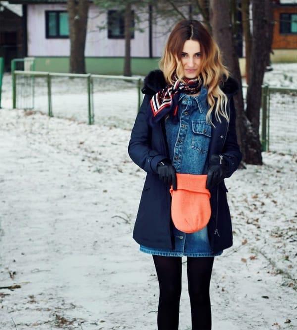 look de inverno com vestido e casaco
