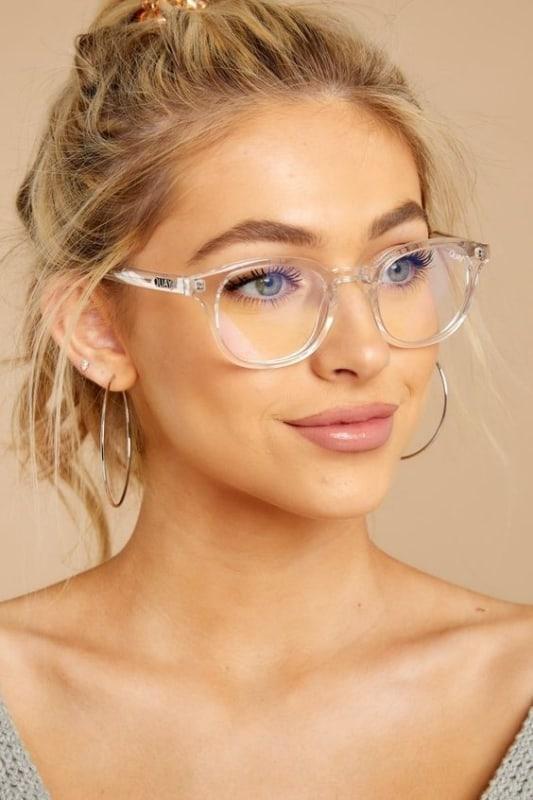 óculos de grau feminino quadrado com armação transparente