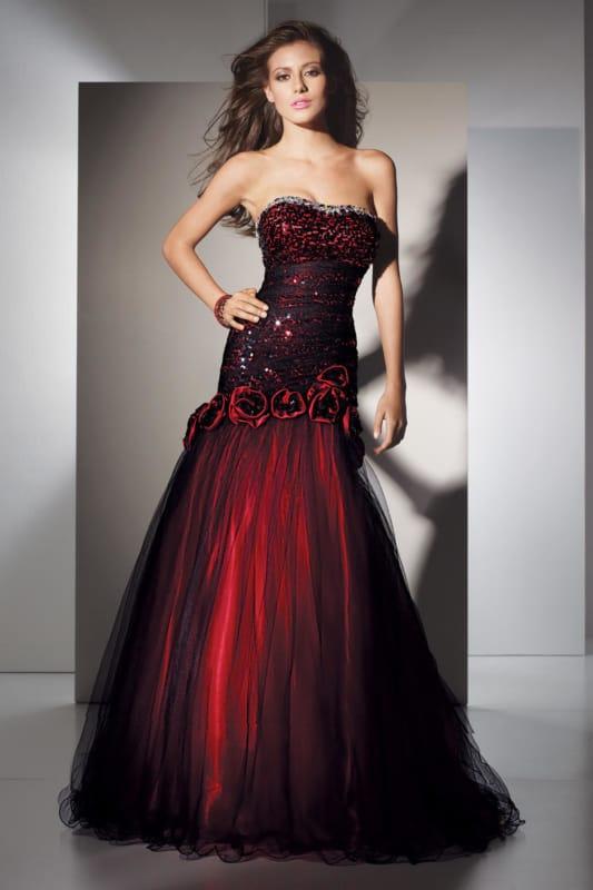 vestido de noiva preto e vermelho