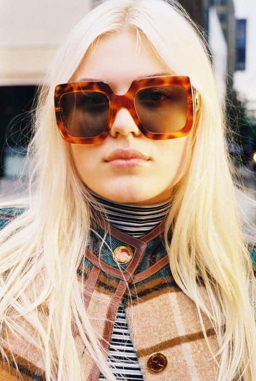 como usar óculos de sol quadrado e grande