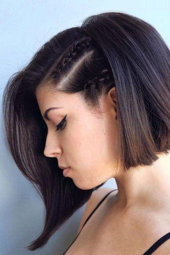 cabelo curto com penteado com trança para casamento de dia