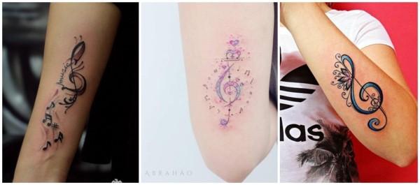 tatuagem de clave de sol no braço