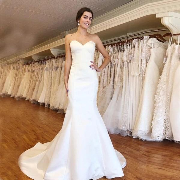 vestido de noiva sereia em cetim e tomara que caia
