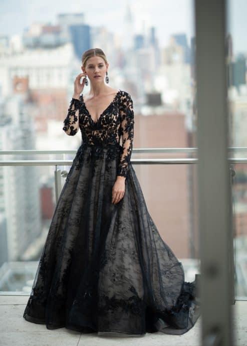 vestido de noiva preto longo