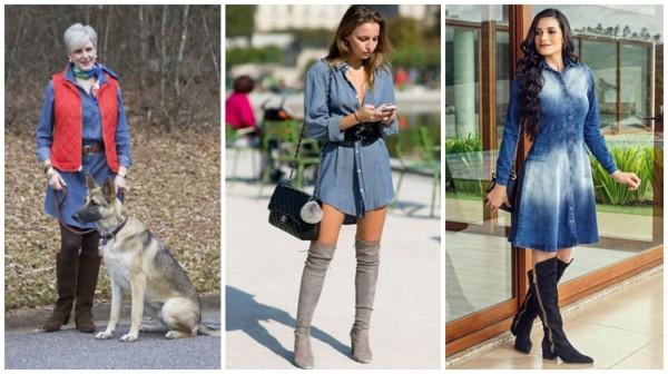 looks com vestido curto jeans com bota
