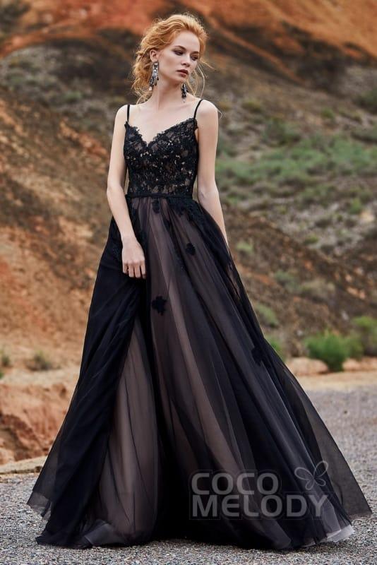 noiva com vestido preto de forro nude