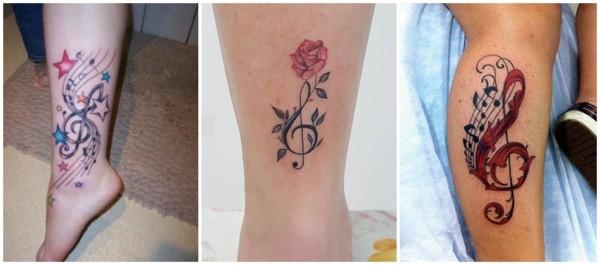tatuagem de clave de sol na perna