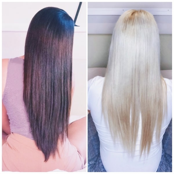 Antes e depois de cabelo preto descolorido14