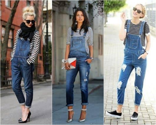 Blusas listradas com jardineira jeans feminina