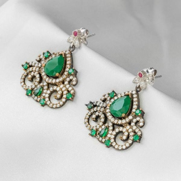Brinco de esmeralda joia turca