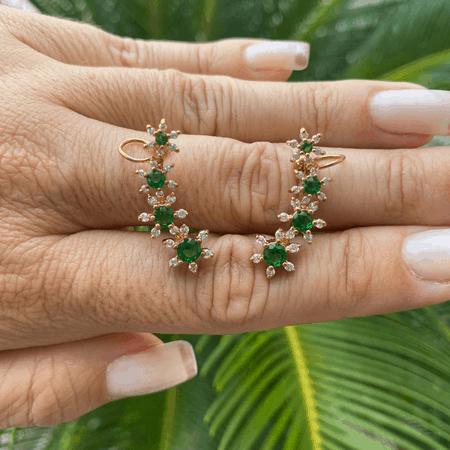 Brinco esmeralda ouro 18k ear cuff flor com zirconia