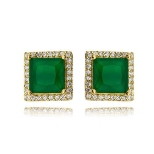 Brinco quadrado esmeralda leitosa dourado semi joia ouro com zirconia cristal