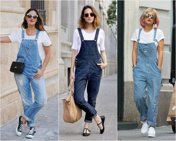 Camiseta branca e jardineira jeans combinam muito