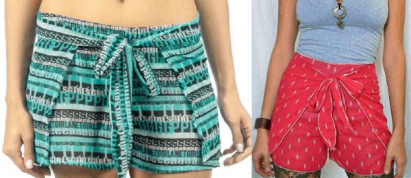 Dois modelos de shorts estampados envelope