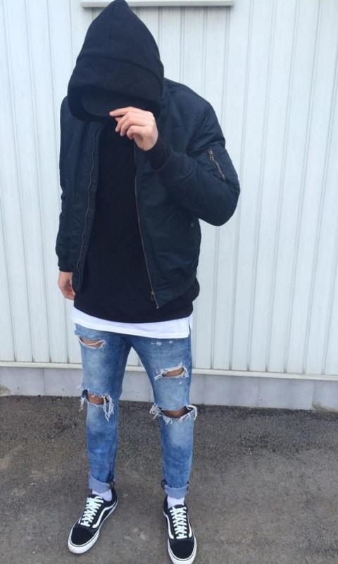 Jaqueta de sarja com capuz