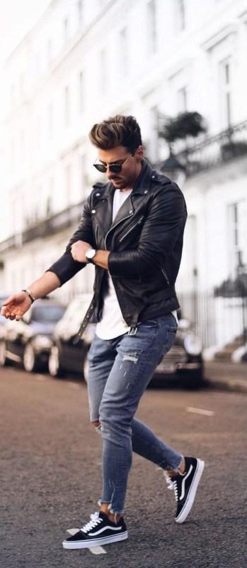 Jaqueta masculina de couro