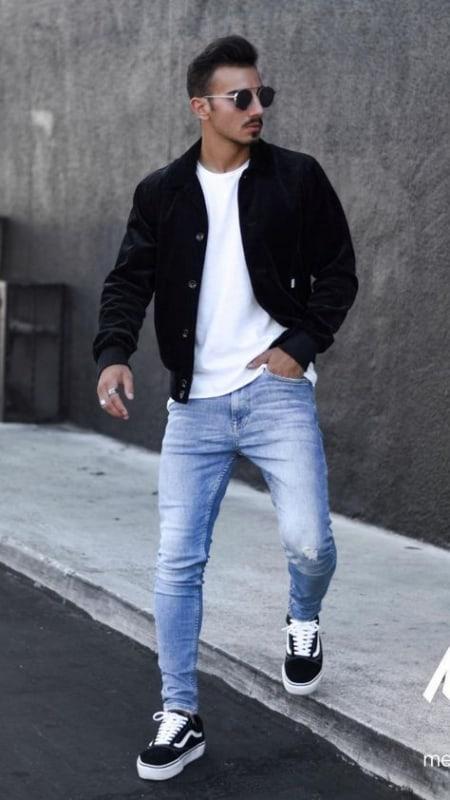 Jaqueta masculina de sarja