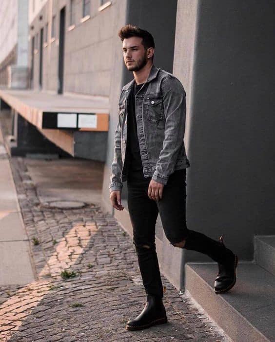 Jaqueta preta clara masculina