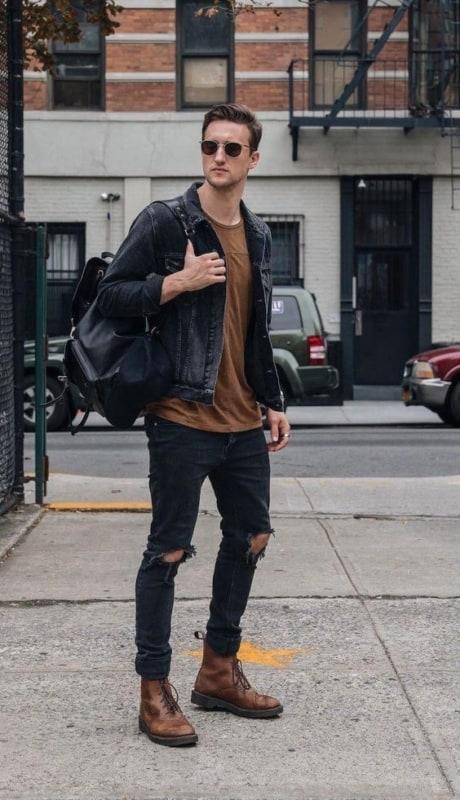 Jaqueta preta jeans masculina