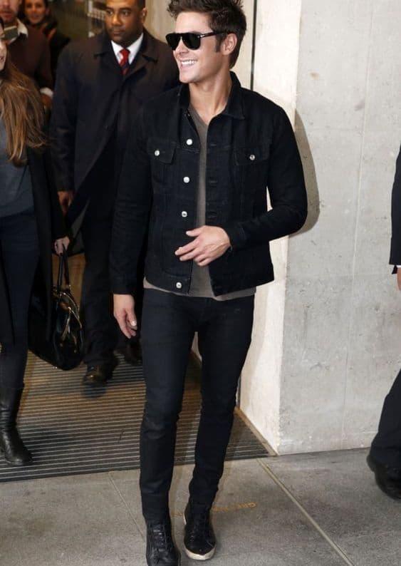 Jaqueta preta masculina jeans