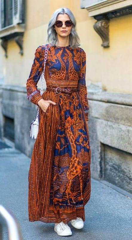 Look com vestido étnico longo