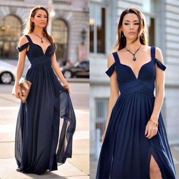 Look social com vestido azul marinho