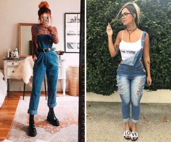Looks Tumblr com jardineira jeans
