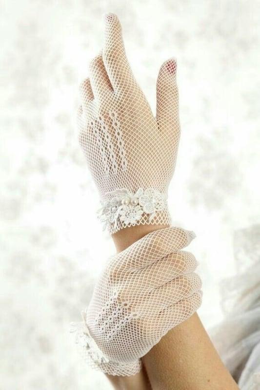 Luvas de noiva com tecido arrastão