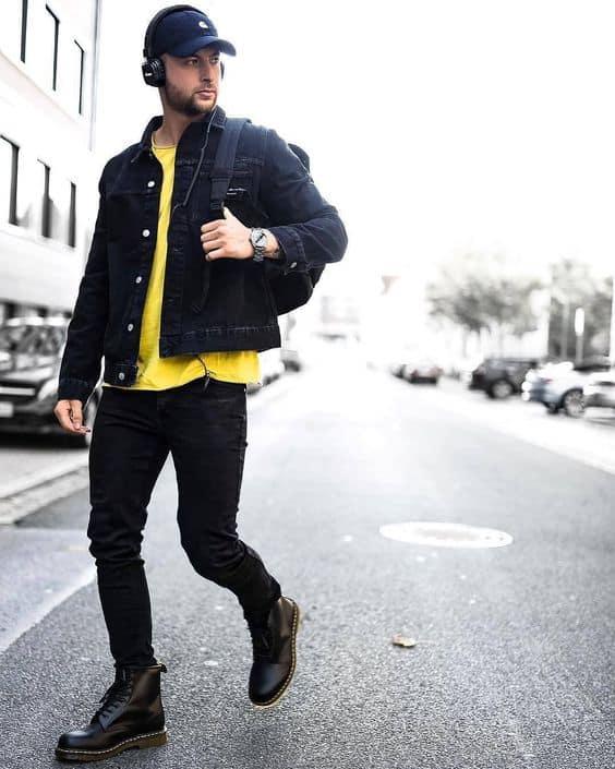 Modelo de jaqueta preta masculina