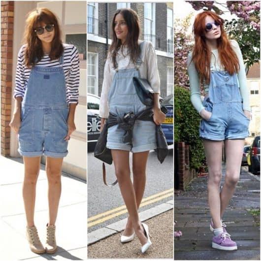 Modelos de jardineirinhas jeans curtas