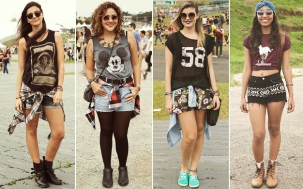 Quatro opções de looks lollapalooza com shorts variados
