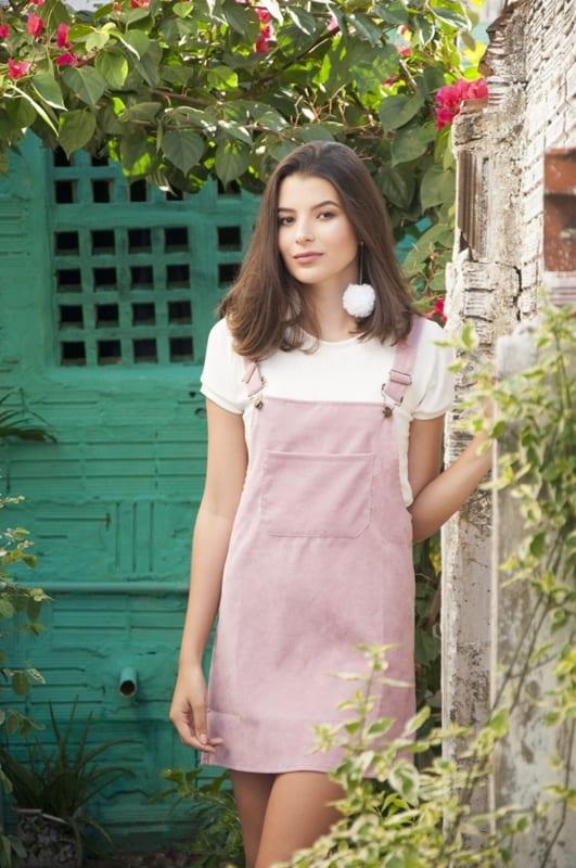 jardineira feminina rosa